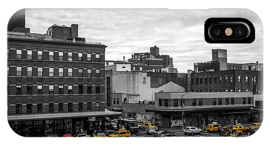 Big Apple IPhone X Case featuring the photograph Yellow Cabs In Chelsea, New York 2 by Art Calapatia