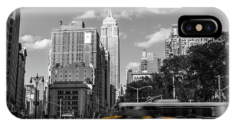 Big Apple IPhone X Case featuring the photograph Yellow Cabs In Midtown Manhattan, New York by Art Calapatia