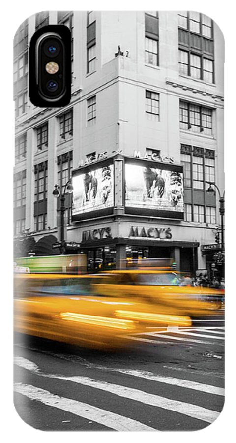 Big Apple IPhone X Case featuring the photograph Yellow Cabs Near Macy's Department Store, New York by Art Calapatia