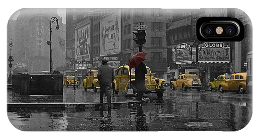 Times Square IPhone X Case featuring the photograph Yellow Cabs New York by Andrew Fare