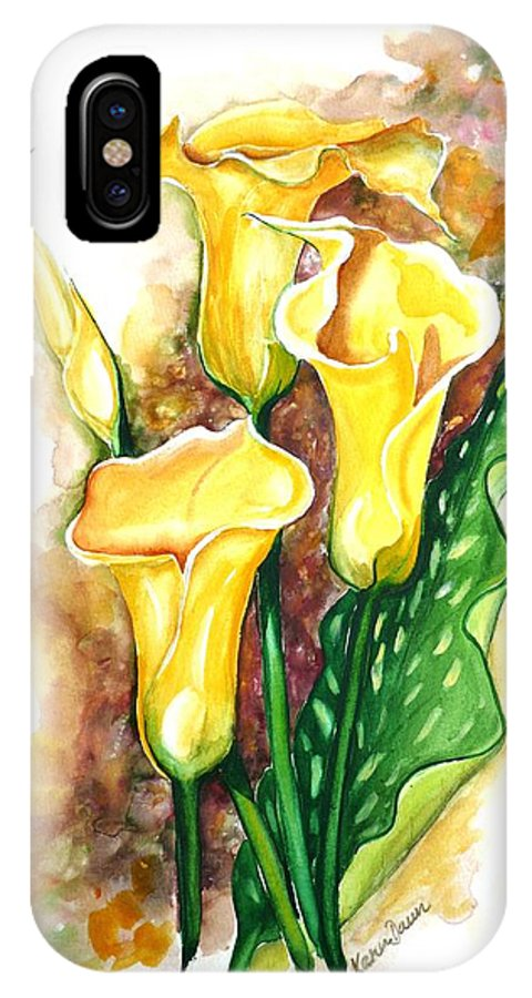 Flower Paintings Floral Paintings `yellow Flower Paintings  Lily Paintings Calla Lily Paintings  Botanical Paintings Greeting Card Paintings Canvas Print Paintings Poster Print Paintings IPhone Case featuring the painting Yellow Callas by Karin Dawn Kelshall- Best