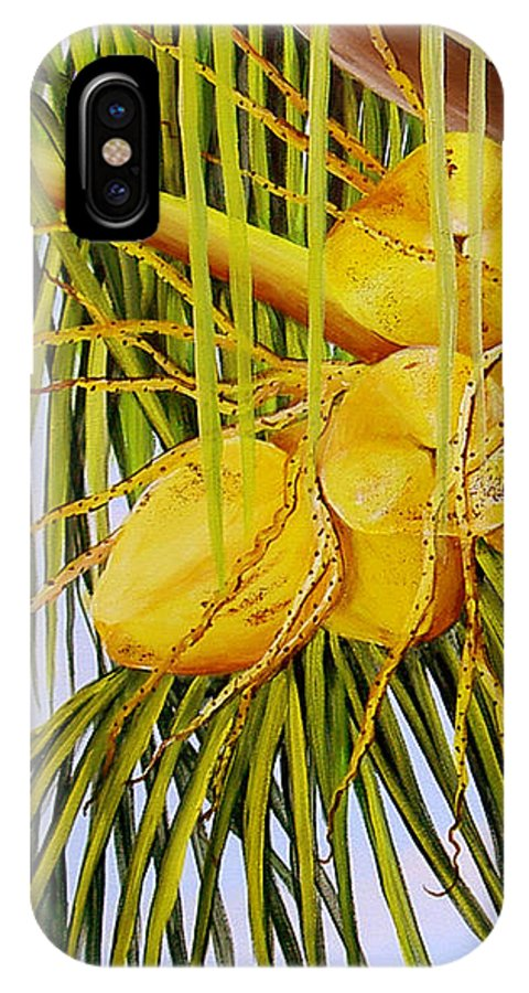 Coconuts IPhone X Case featuring the painting Yellow Coconuts- 01 by Dominica Alcantara