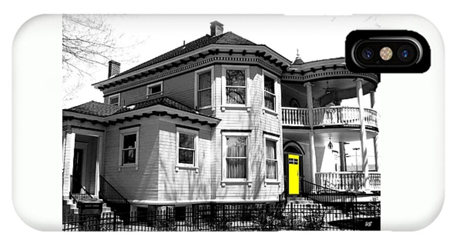 House IPhone X Case featuring the digital art Yellow Door by Will Borden