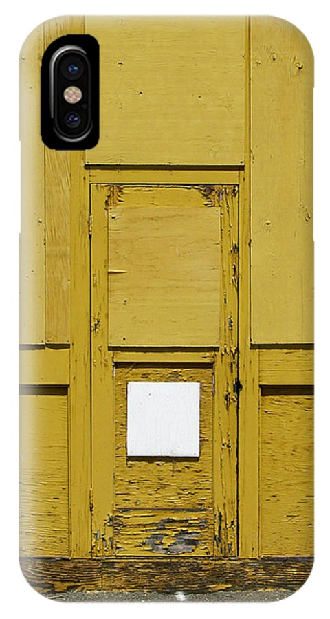 Door IPhone X Case featuring the photograph Yellow Door With Accent by Ben Freeman