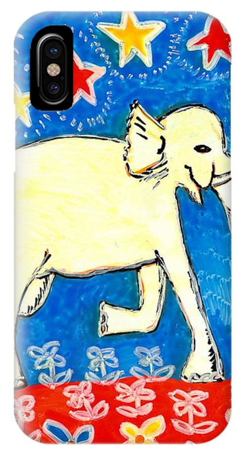 Sue Burgess IPhone X Case featuring the painting Yellow Elephant Facing Right by Sushila Burgess