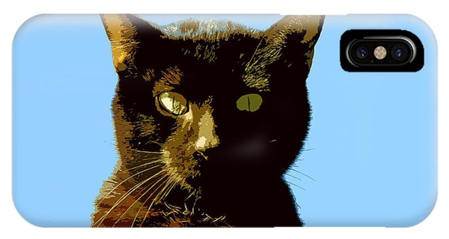Cat IPhone X Case featuring the painting Yellow Eyes by David Lee Thompson