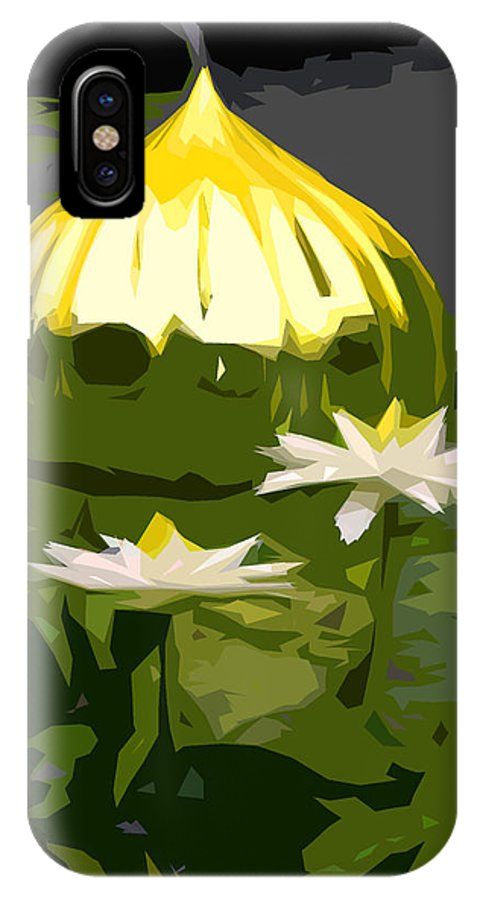 Water Lilies IPhone X Case featuring the photograph Yellow Glass With White Lilies by John Lautermilch