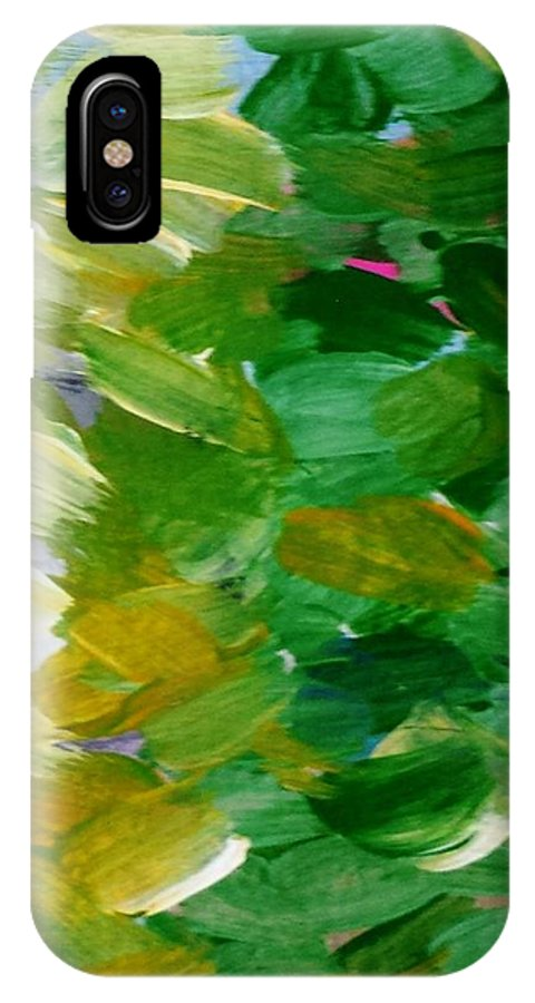 Abstract IPhone X Case featuring the painting Yellow Green - Abstract by Vesna Antic