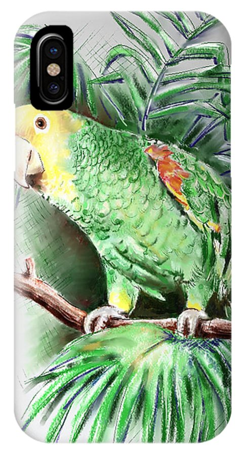 Bird IPhone X Case featuring the digital art Yellow-headed Amazon Parrot by Arline Wagner