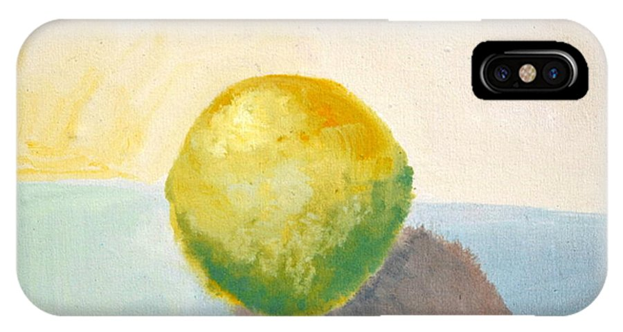 Lemon IPhone Case featuring the painting Yellow Lemon Still Life by Michelle Calkins