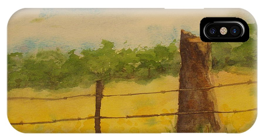 Meadow IPhone X Case featuring the painting Yellow Meadow by Vicki Housel