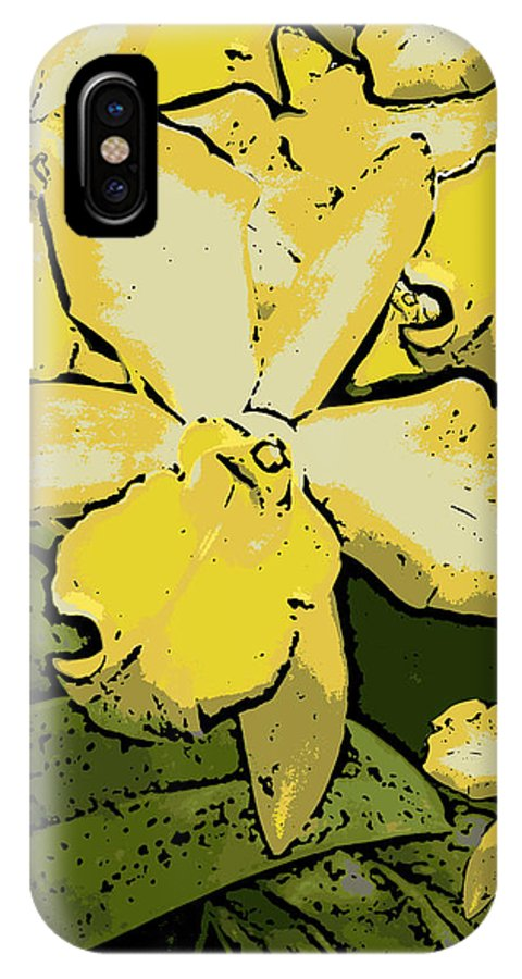 Orchid IPhone Case featuring the photograph Yellow Orchids Woodcut by Ann Tracy