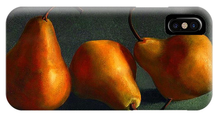 Still Life IPhone X Case featuring the painting Yellow Pears by Frank Wilson