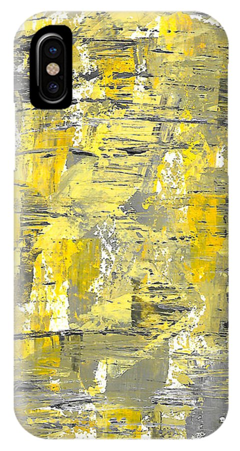 Acrylic IPhone X Case featuring the painting Yellow Sadness by Brejenn Allen