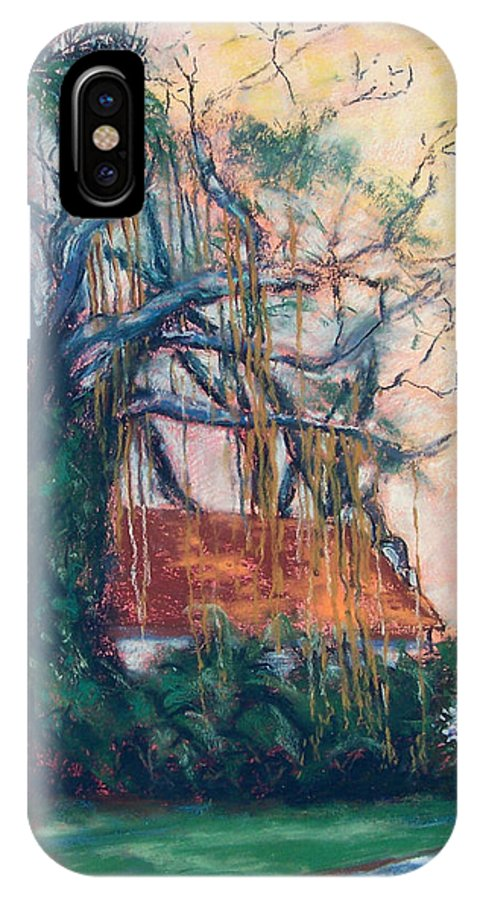 Edison IPhone X Case featuring the painting Yellow Sky At Edison Winter Estate by Laurie Paci