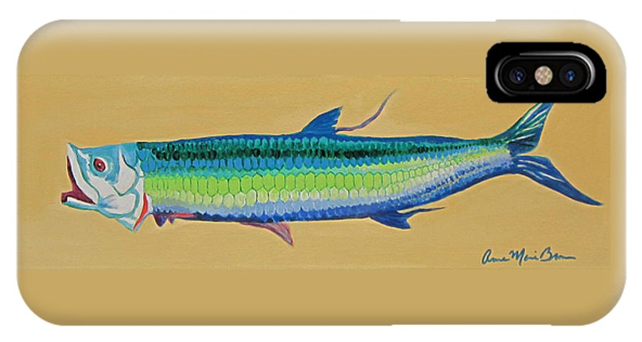 Fish IPhone X Case featuring the painting Yellow Tarpon by Anne Marie Brown
