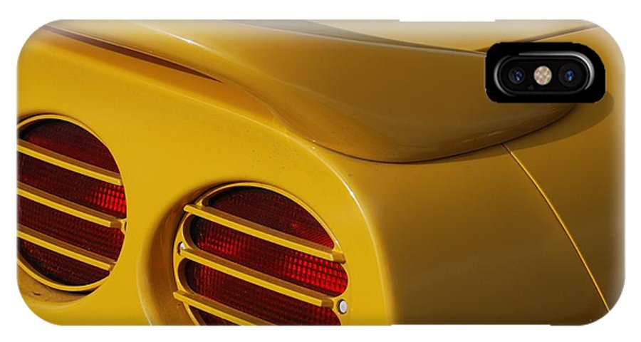 Corvette IPhone X Case featuring the photograph Yellow Vette Lights by Rob Hans