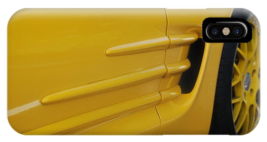 Corvette IPhone X Case featuring the photograph Yellow Vette by Rob Hans