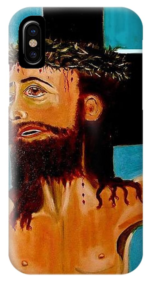 Jesus IPhone X Case featuring the painting Yeshua by Rusty Gladdish