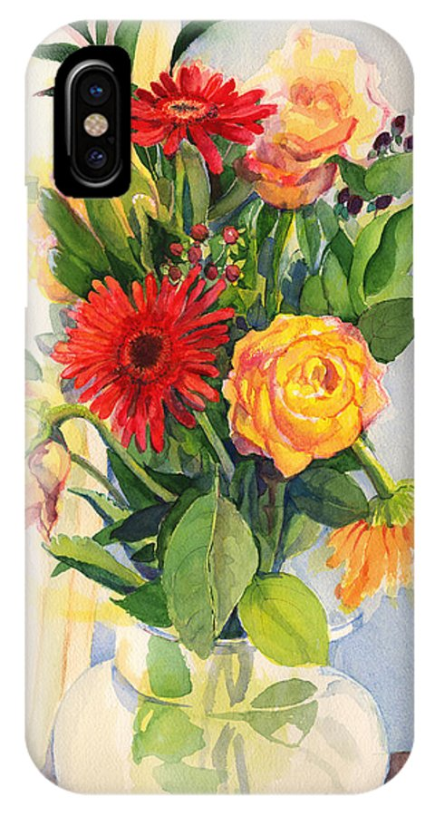 Watercolor Flowers IPhone X Case featuring the painting Yesterdays Beauties by Nancy Watson