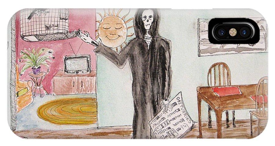 Bird Birdcage Darkestartist Death Home Humor Ink Watercolor Watercolour Darkest Artist IPhone X Case featuring the painting Yesterdays News by Darkest Artist