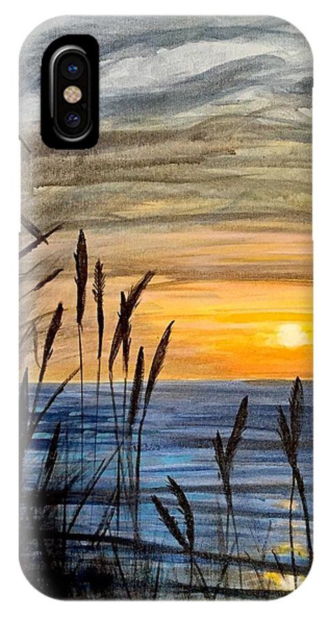 Landscape Sunset Sunrise Sun Sunny River Sea Ocean Beach Lake Reed Grass Yellow Blue Golden Summer Spring Fall Autumn Samanvitha Rao Watercolor IPhone X Case featuring the painting Yet Another Sunset by Samanvitha Rao
