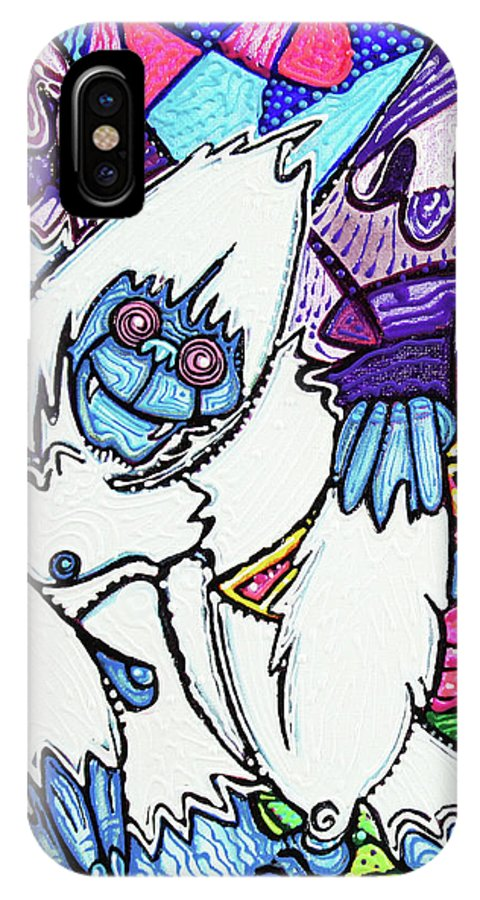Animal IPhone X Case featuring the painting Yeti Love pink Lemonade by Laura Barbosa