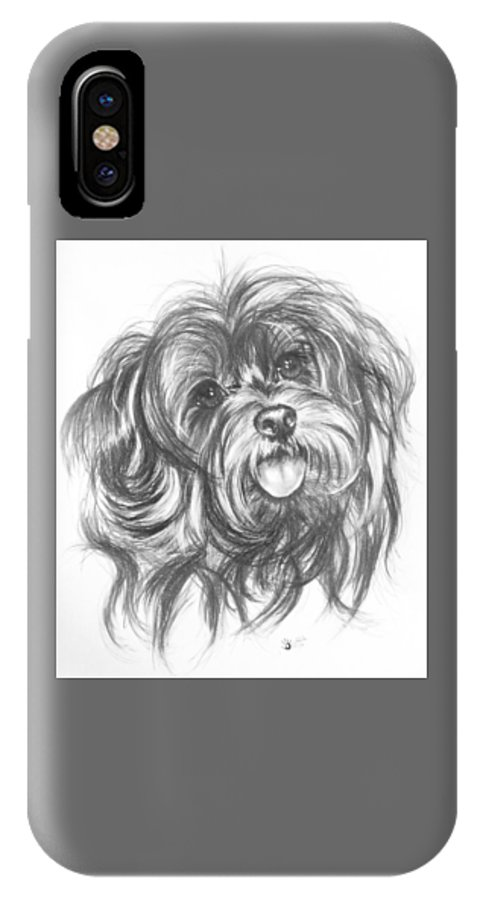 Designer Dog IPhone X Case featuring the drawing Yorkiepoo by Barbara Keith
