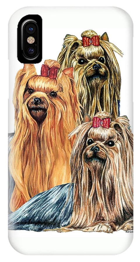 Yorkshire Terrier IPhone X Case featuring the drawing Yorkshire Terriers by Kathleen Sepulveda