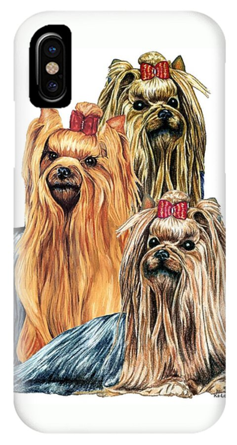Yorkshire Terrier IPhone X / XS Case featuring the drawing Yorkshire Terriers by Kathleen Sepulveda