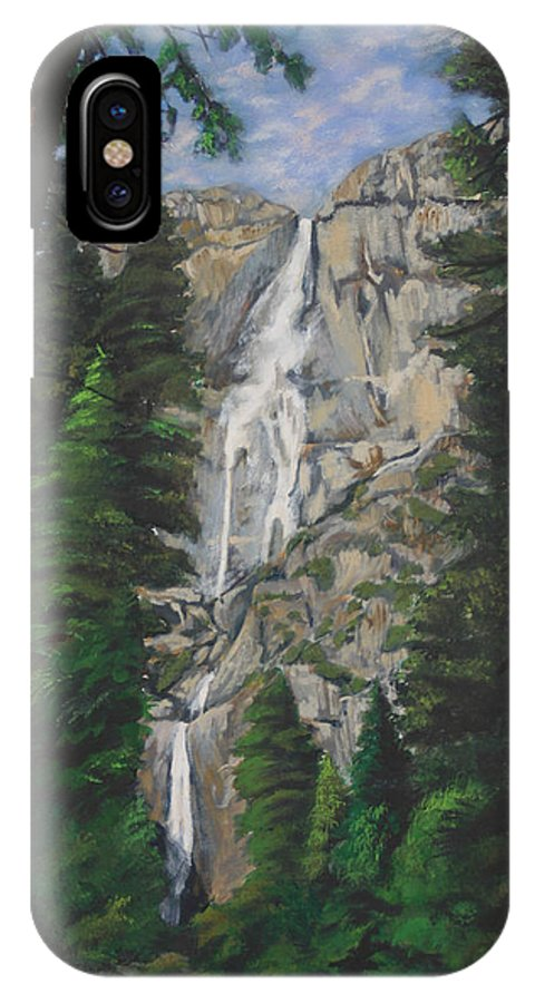 Landscape IPhone X Case featuring the painting Yosemite Falls by Travis Day