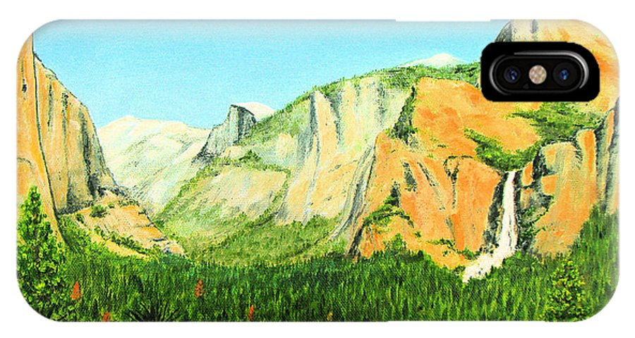 Yosemite National Park IPhone X Case featuring the painting Yosemite National Park by Jerome Stumphauzer