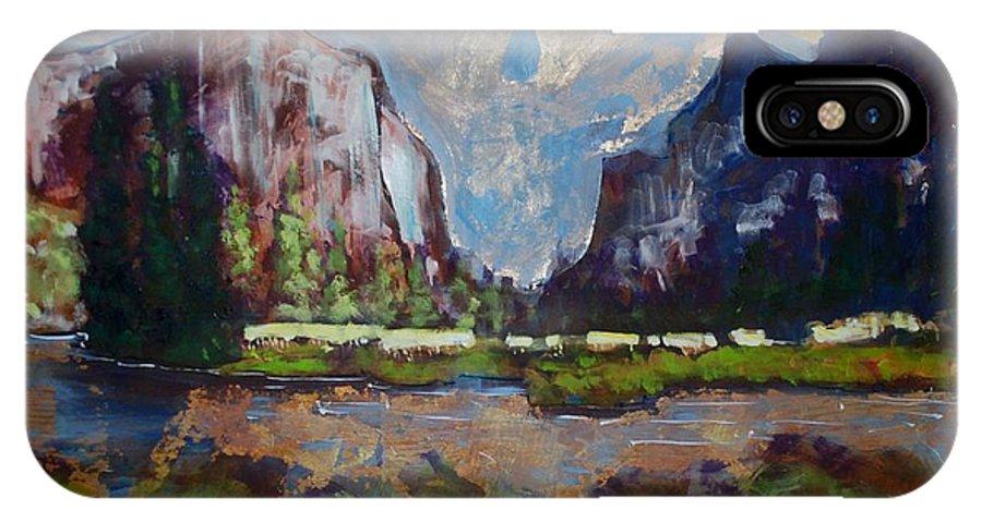 Yosemite Valley IPhone X Case featuring the painting Yosemite Valley by Kurt Hausmann