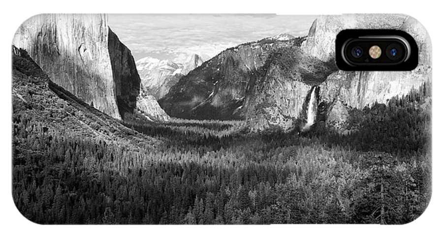 Black & White IPhone X Case featuring the photograph Yosemite Valley by Sandra Bronstein
