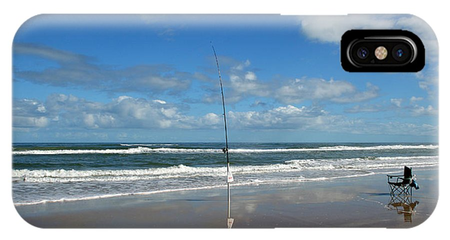 Fish Fishing Vacation Beach Surf Shore Rod Pole Chair Blue Sky Ocean Waves Wave Sun Sunny Bright IPhone X Case featuring the photograph You Could Have Been There by Andrei Shliakhau