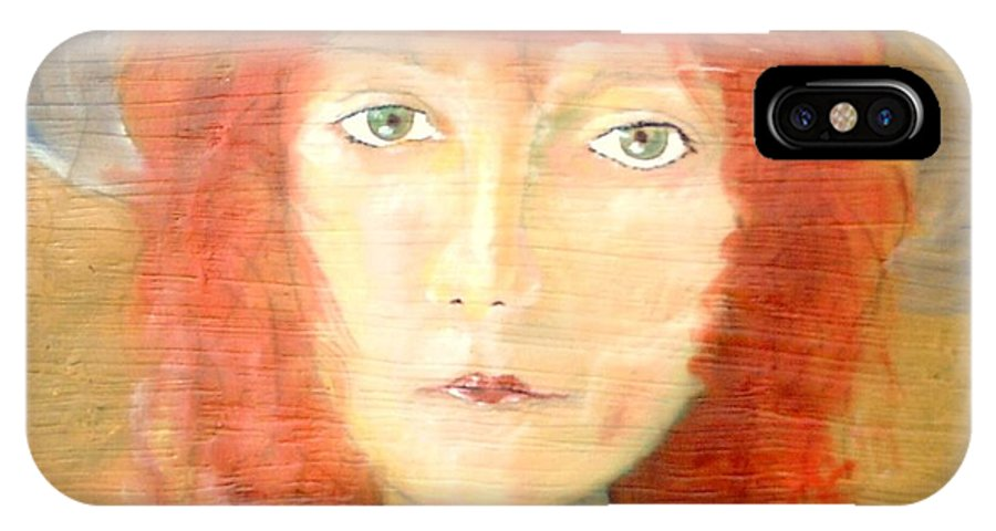 Woman IPhone X / XS Case featuring the painting You Found My Hat by J Bauer