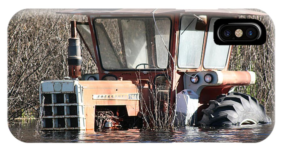 Flood Regina Sk Canada Flooding Flooded Farm Tractor Trees Grass Wrecked Loss IPhone X / XS Case featuring the photograph You Go Get The Tractor by Andrea Lawrence