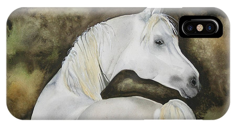 Horse IPhone X Case featuring the painting You Talking To Me by Jean Blackmer