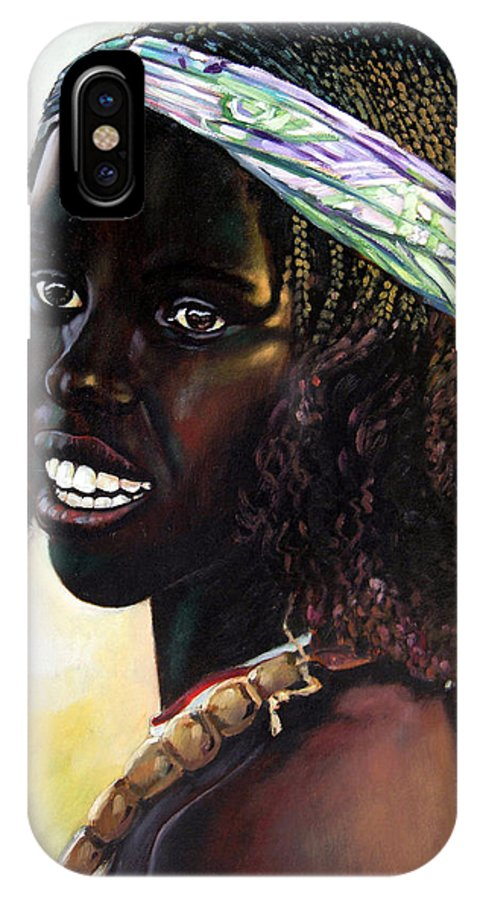 Young Black African Girl IPhone X Case featuring the painting Young Black African Girl by John Lautermilch