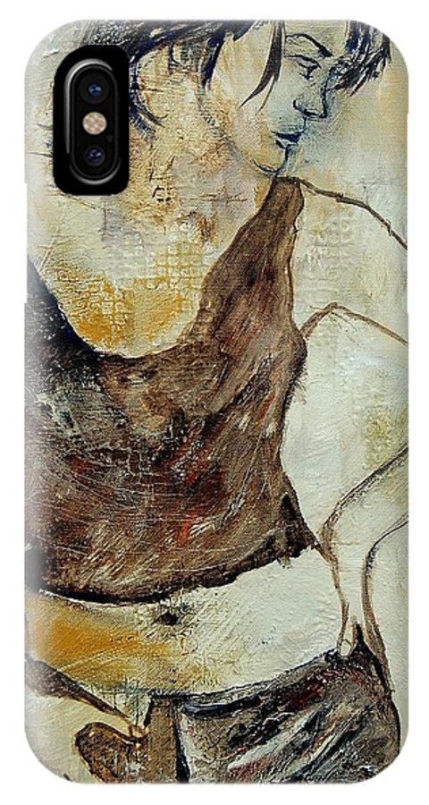 Nude IPhone X Case featuring the painting Young Girl 459070 by Pol Ledent