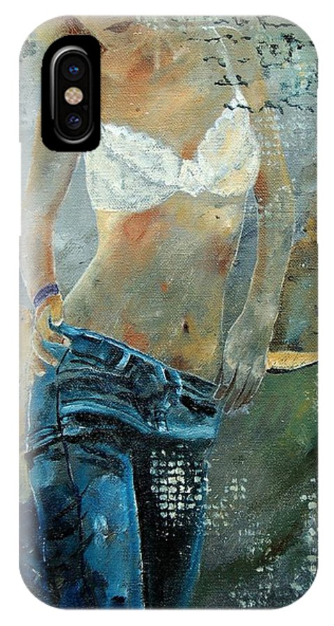 Girl IPhone X / XS Case featuring the painting Young Girl In Jeans by Pol Ledent