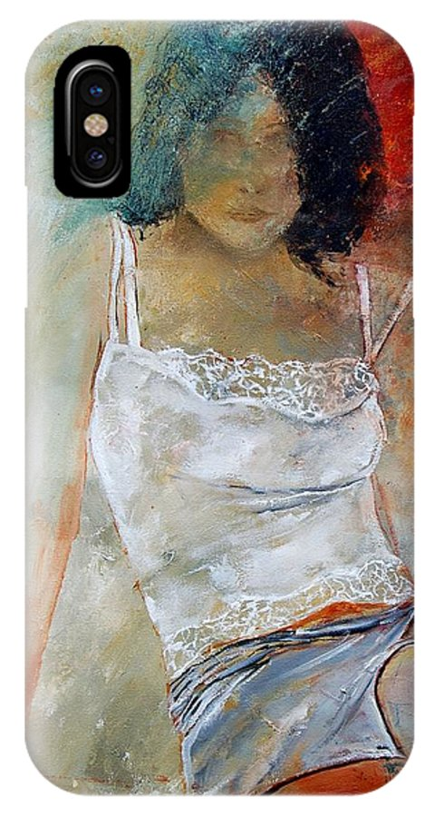 Nude IPhone X Case featuring the painting Young Girl Sitting by Pol Ledent