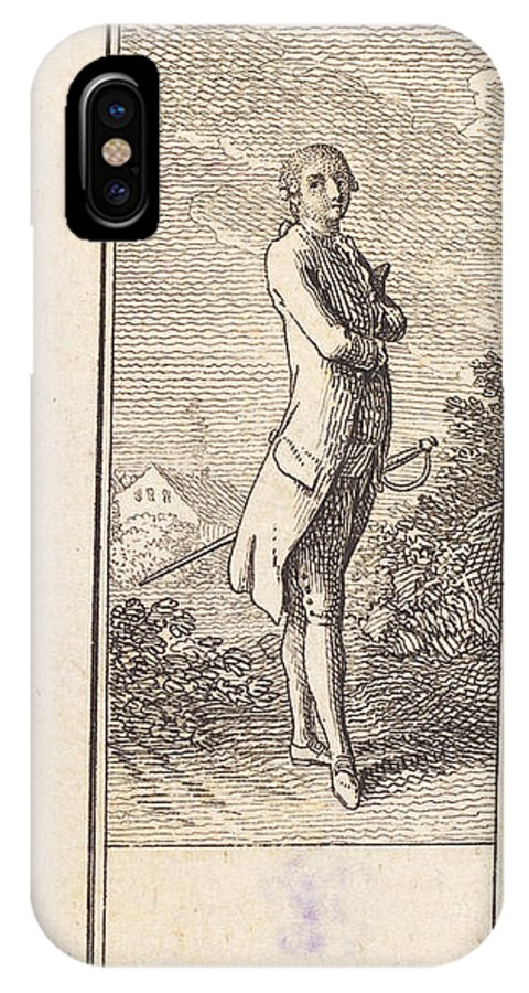 IPhone X Case featuring the drawing Young Man Bareheaded, With Sword by Daniel Nikolaus Chodowiecki