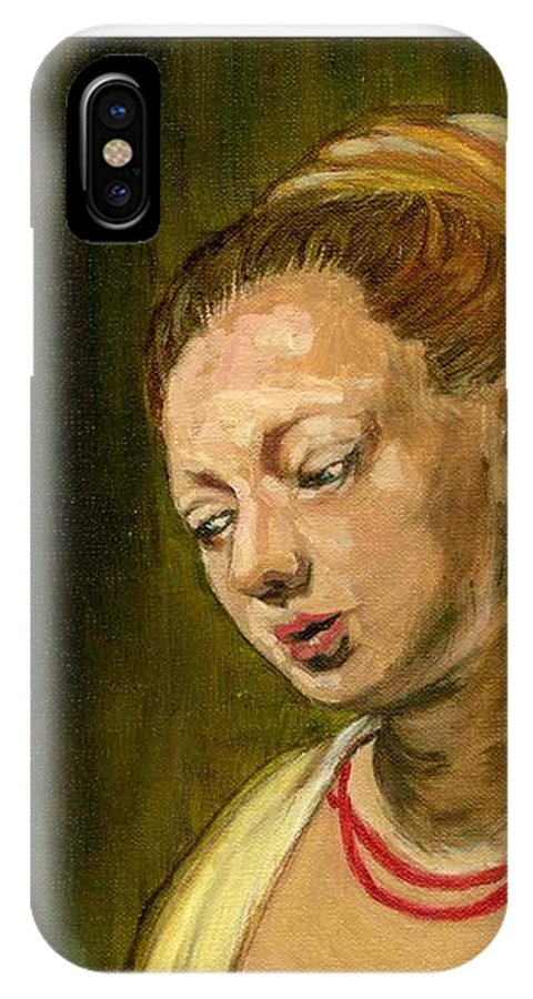 Rembrandt's Painting IPhone X Case featuring the painting Young Woman by Asha Sudhaker Shenoy