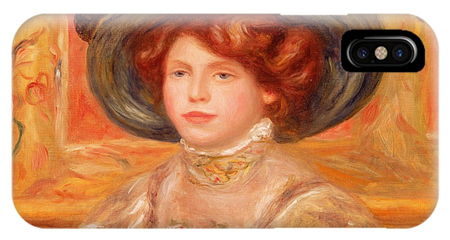 Young IPhone X Case featuring the painting Young Woman In A Blue Hat by Pierre Auguste Renoir