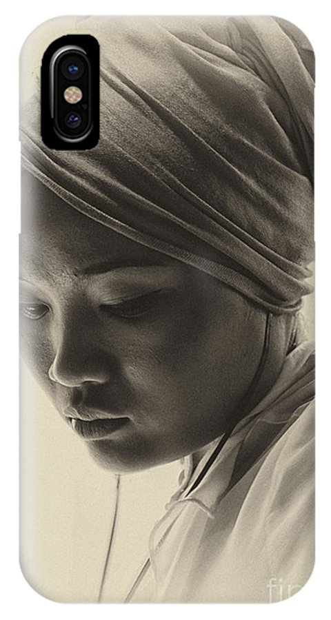 Young Woman IPhone X Case featuring the photograph Young woman in turban by Sheila Smart Fine Art Photography