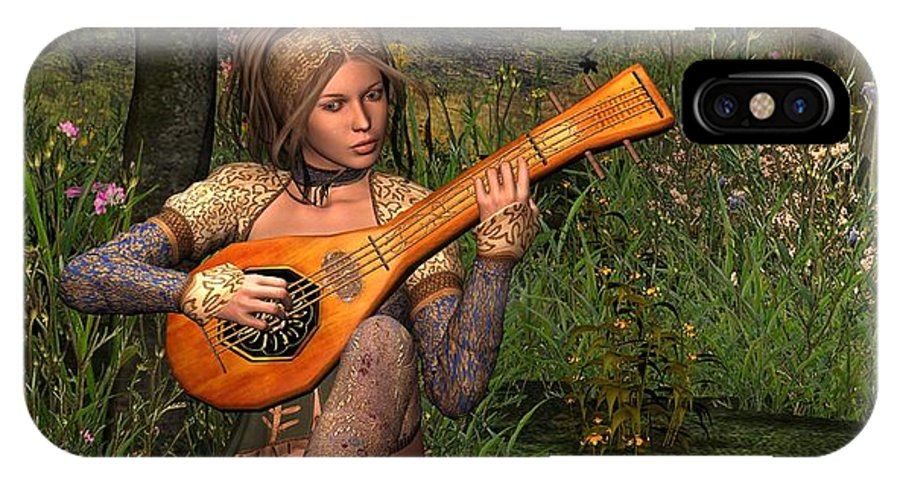 Fanast IPhone Case featuring the digital art Young Women Playing The Lute by John Junek