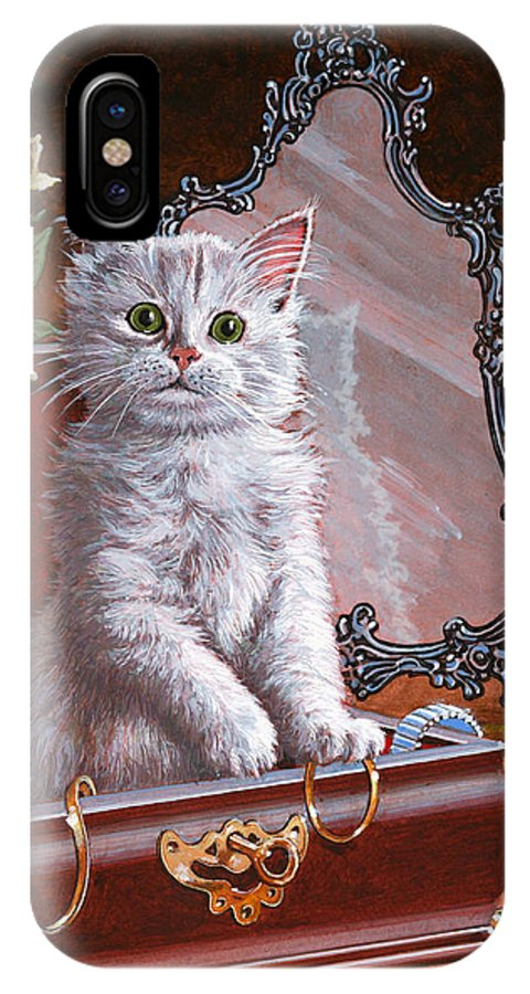 Kitten IPhone X Case featuring the painting You're Home Early by Richard De Wolfe
