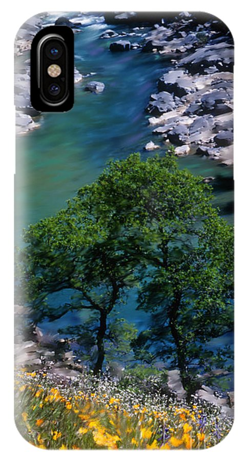Yuba River IPhone X Case featuring the mixed media Yuba River In Spring by Lisa Redfern