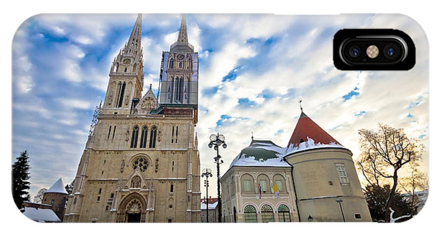 Zagreb IPhone X / XS Case featuring the photograph Zagreb Cathedral Winter Daytime View by Brch Photography